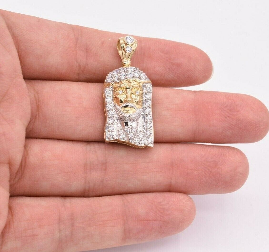 Solid 10K Two-Tone Real Gold Jesus Pendant