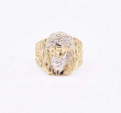 Mens Nugget Jesus Head CZ Ring Real Solid 10K Yellow White Gold ALL -