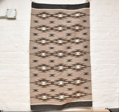 Vintage Navajo Blanket Rug native american indian Wide Ruins Antique 48x28