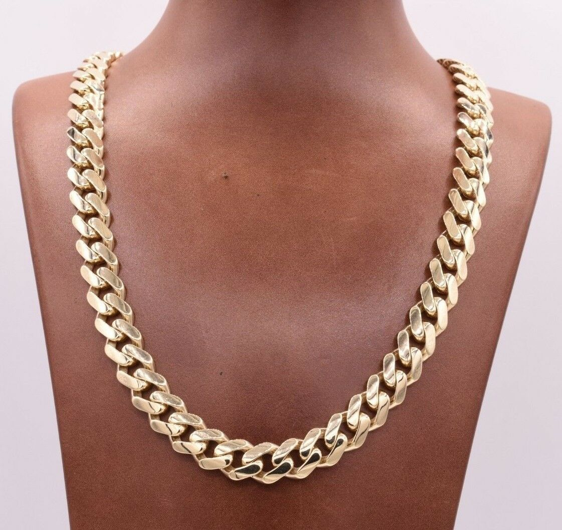 11mm Mens Miami Cuban Royal Link Chain Necklace Box Clasp Real 10K Yellow Gold