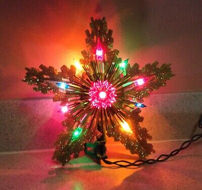 GLITTER GOLD STAR 3 DIMENSIONAL 9 COLORFUL LIGHT ELECTRIC CHRISTMAS TREE TOPPER