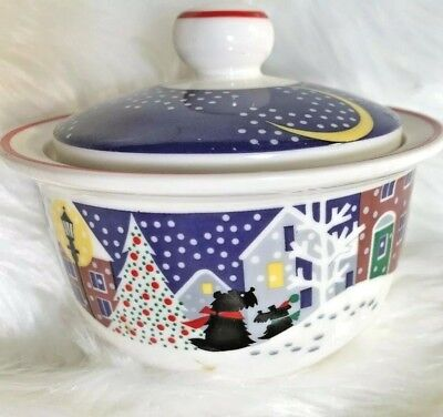 Noritake TWAS THE NIGHT BEFORE CHRISTMAS PATTERN Sugar Bowl w/Lid Scotty Dog