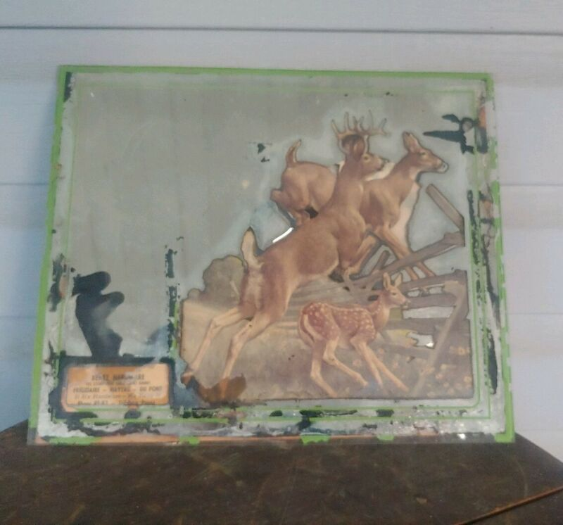 Antique Bentz Hardware Dillsburg Pa Mirror With Deer
