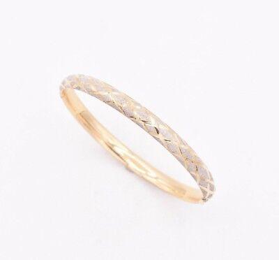 X Design Textured Two-Tone Diamond Cut Bangle Bracelet Real 10K Yellow Gold  Diamond Design Bangle