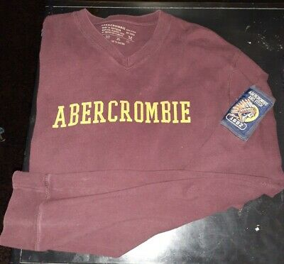 Abercrombie Mens Long Sleeve V Neck Burgundy Tee Medium