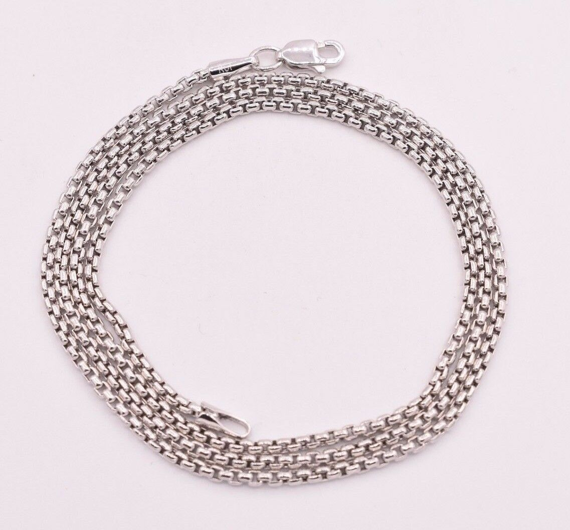 Round Box Link Chain Necklace Genuine 14K White Gold 1.70mm ALL SIZES