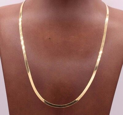 High Polished Herringbone Necklace Chain 10K Solid Yellow Gold 3.0mm ALL SIZES