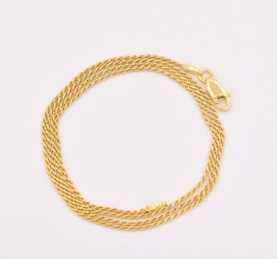 - 1mm Diamond Cut Rope Chain Necklace 14K Yellow Gold Clad Silver 925 ITALY