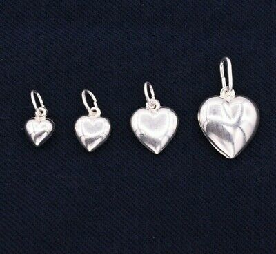Puffed Heart ITALIAN 925 Sterling Silver Pendant Charm __ All Sizes S M L XL