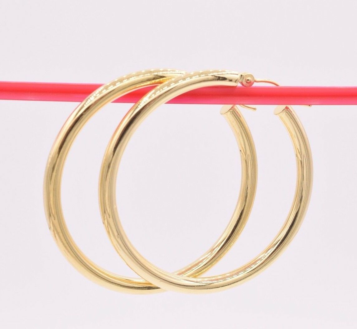 3mm X 40mm All Shiny Plain Hoop Earrings 14K Yellow Gold Clad Silver 925