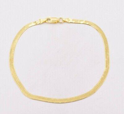 3.00mm Flexible Herringbone Bracelet Real 14K Yellow Gold Clad Silver 925 ITALY 14k Gold Flexible Bangle