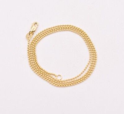 1mm Round All Plain Shiny Bead Ball Chain Necklace Real Solid 14K Yellow - 1 Mm Bead Chain