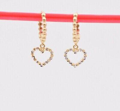 "3/4"" Diamond Cut Heart Beaded Drop Dangle Earrings Real 14K Yellow White Gold"
