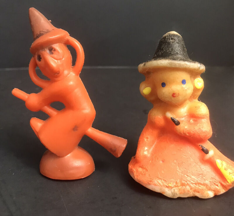 Vtg Gurley Novelty Halloween Wax Candle Friendly Witch & Blow Mold Pencil Topper