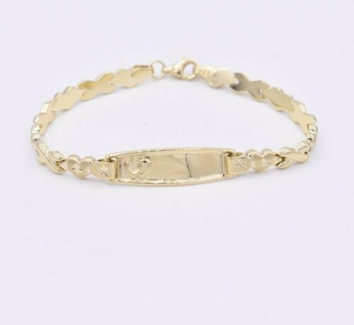 "6.5"" Baby Childrens Engravable ID XO Hearts Kisses Bracelet REAL 10K Yellow Gold"