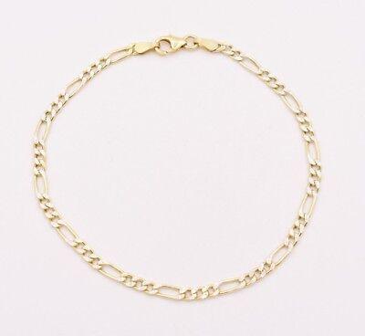 Italian Royal Figaro Pave Two-Tone Bracelet 14K Yellow Gold Clad Silver 925 -