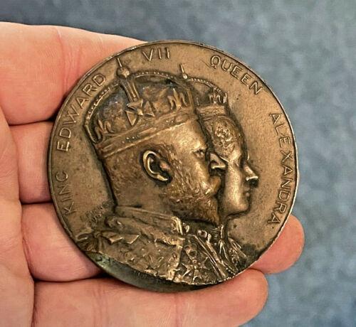 King Edward VII Queen Alexandra Bronze Coronation Medal by E. Fuchs 1902