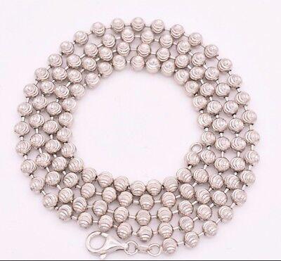 5mm Diamond Cut Moon Cut Ball Bead Chain Necklace Real Sterling Silver 925 - Diamond Cut Ball Chain