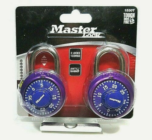 Master Lock Padlock 1530T Dial Combination Lock, 1-7/8 in. Wide, Purple
