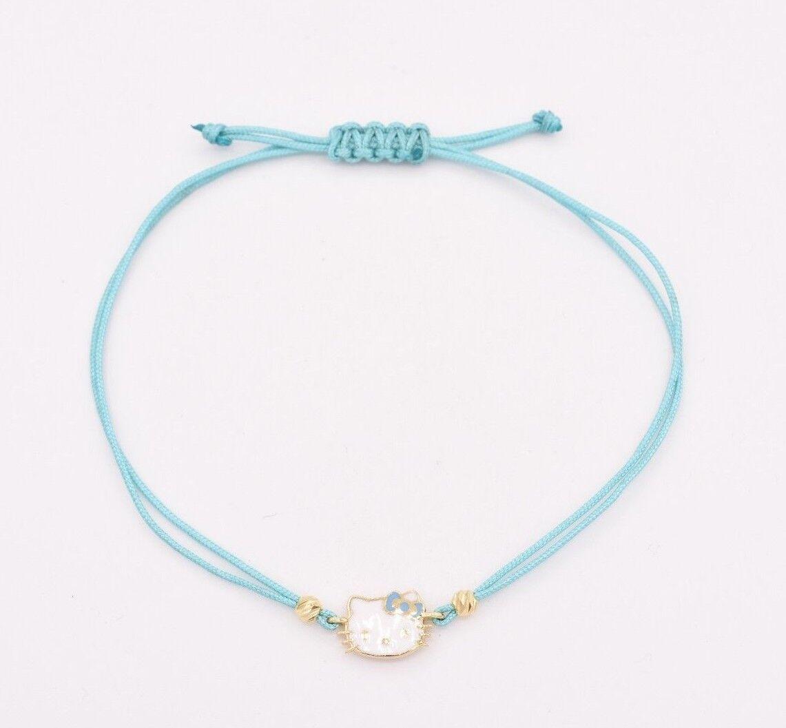 0e38dbc14 Hello Kitty Enamel Red Bow tie Charm Baby Bracelet 14K Yellow Gold