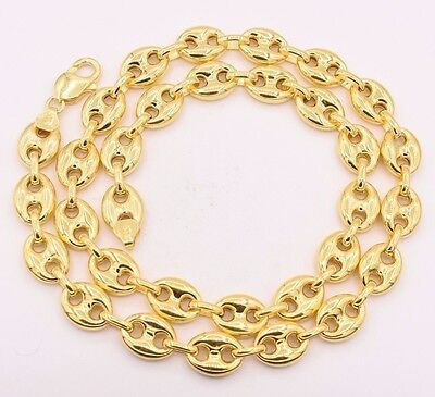 12mm Puffed Gucci Anchor Mariner Link Chain Necklace 14K Yellow Gold Clad (14k Mariner Link Chain)