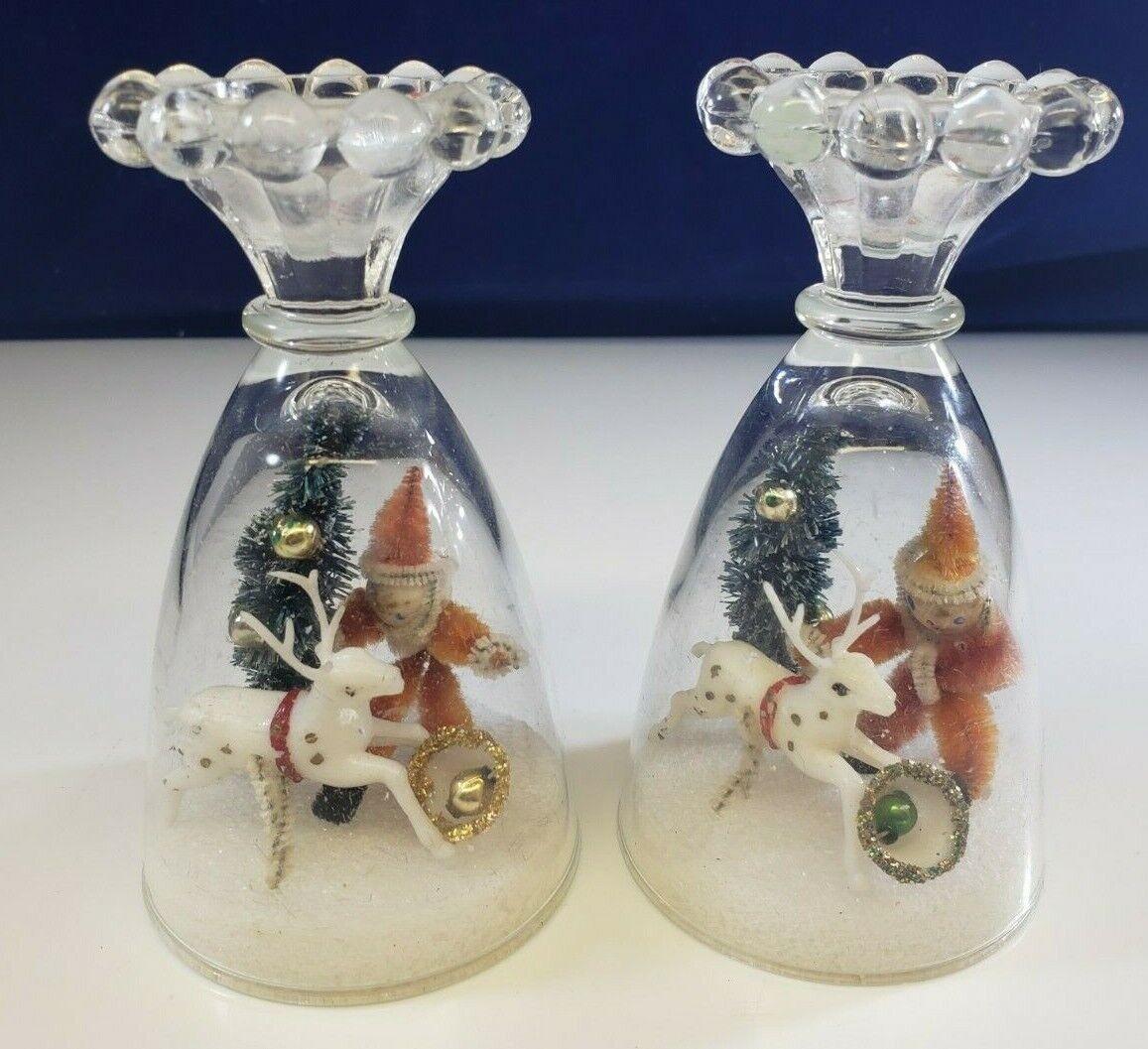 Vintage Anchor Hocking Boopie Glassware Christmas Candle Holder Handmade  - $19.99