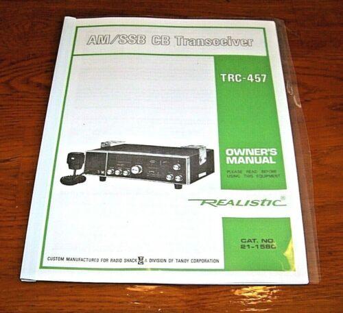 Realistic TRC-457 Navaho 40 Channel AM SSB CB Radio Owners Manual w/Schematic