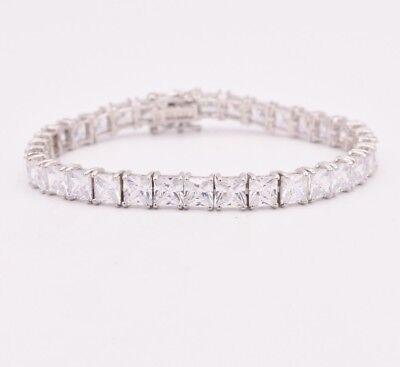 Diamonique Princess Cut Clear CZ Tennis Bracelet Real 925 Sterling Silver 35TCW