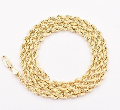 5mm Italian Rope Link Chain Pendant Necklace Real 10K Yellow Gold Light Weight Italian Yellow Gold Chain