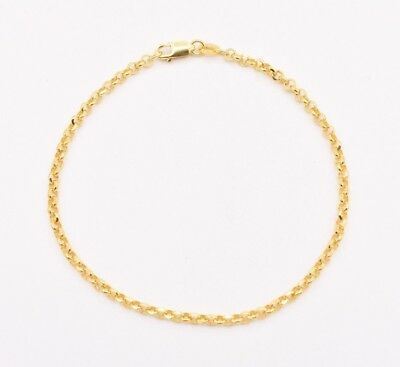"""7"""" Oval Rolo Charm Diamond Cut Link Chain Bracelet Real Solid 10K Yellow Gold 7"""""""