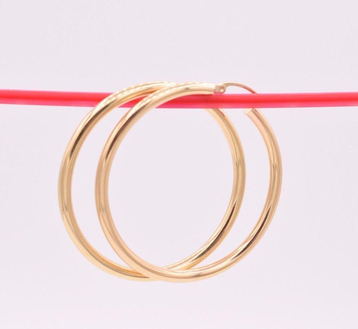 3mm X 30mm Plain Shiny Hoop Earrings REAL 14K Yellow Gold FREE SHIPPING