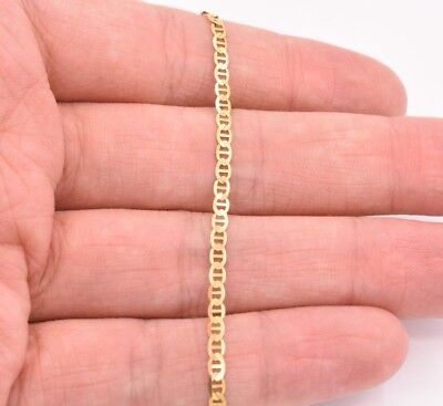 2.7mm Mariner Anchor Gucci Link Chain Bracelet Real Solid 10K Yellow (Anchor Mariner Bracelet)