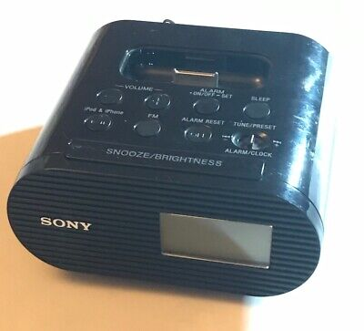 Sony ICF-C05iP Alarm Clock FM Radio Charging Dock iPod iPhone Black Tested