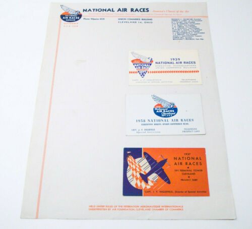 1948 & 1938 Cleveland National Air Races Letterheads & 1937 1938 1939 Cards Race
