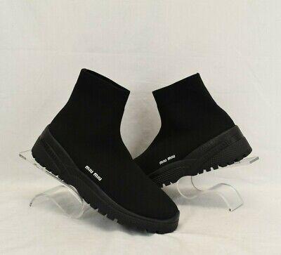 NIB MIU MIU BLACK 5T837C KNITTED SOCK LETTERING LOGO ANKLE SNEAKERS BOOTS 40