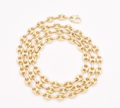 Solid Mariner Link Chain - 6.5mm Puffed Mariner Anchor Gucci Link Chain Necklace REAL Solid 10K Yellow Gold