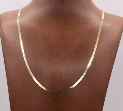 High Polished Herringbone Necklace Chain 10K Solid Yellow Gold 2.2mm ALL SIZES