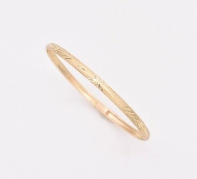 Baby Kids Textured Diamond Cut Bangle Bracelet Real Solid 10K Yellow Gold 5.5