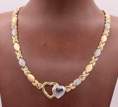 Kisses & Hugs Hearts Satin Necklace 14K Yellow White Gold Clad Silver 925 XOXO