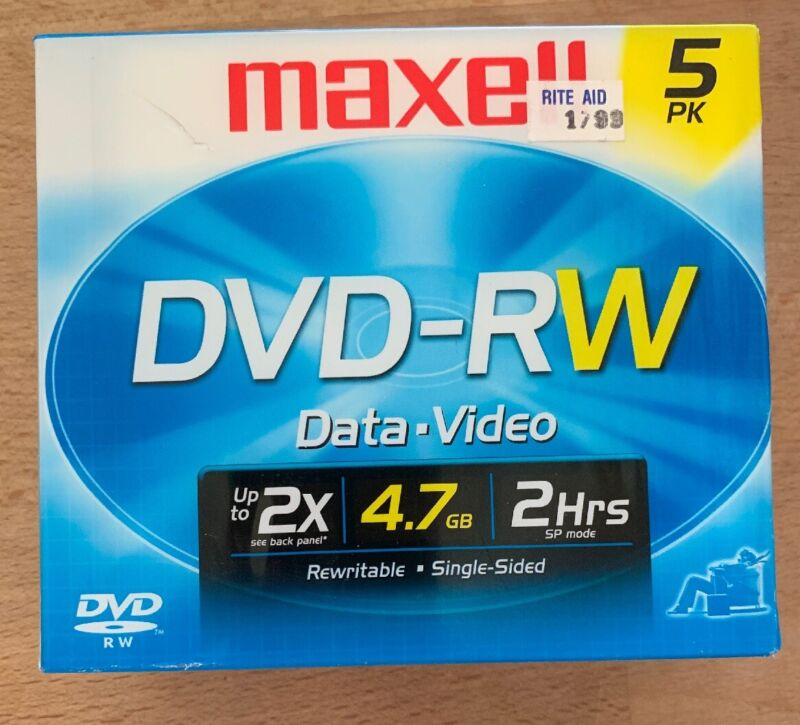 NEW Maxell DVD-RW 120 Min 4.7 GB Data-Video-Music ReWriteable 5-Pack Single-Side