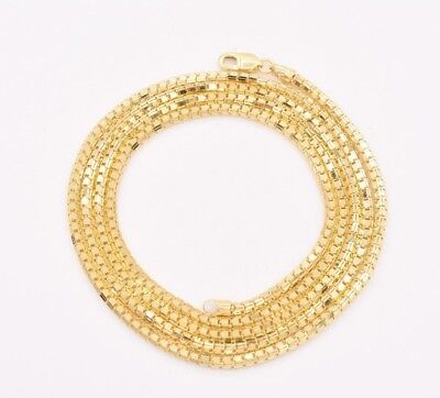 - Round Box Snake Diamond Cut Chain Necklace Real 10K Yellow Gold 2.3mm