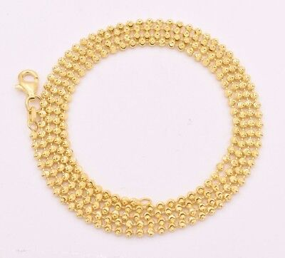 2mm Diamond Cut Moon Cut Ball Bead Chain Necklace Solid 14K Yellow Gold Clad 925 - Gold Bead Necklaces
