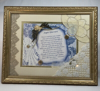 Mixed Media Collage Wood Framed Art With