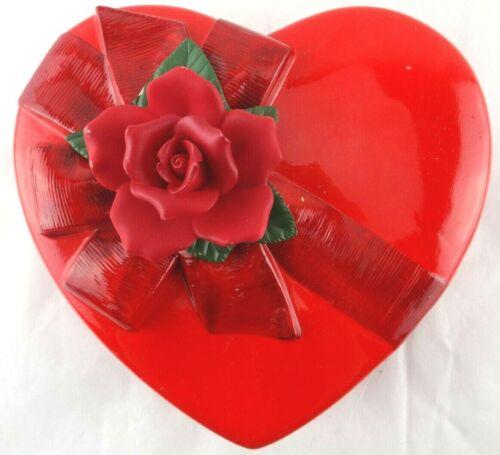 Vintage Porcelain Valentine Red Rose Covered Candy Box  Teleflora