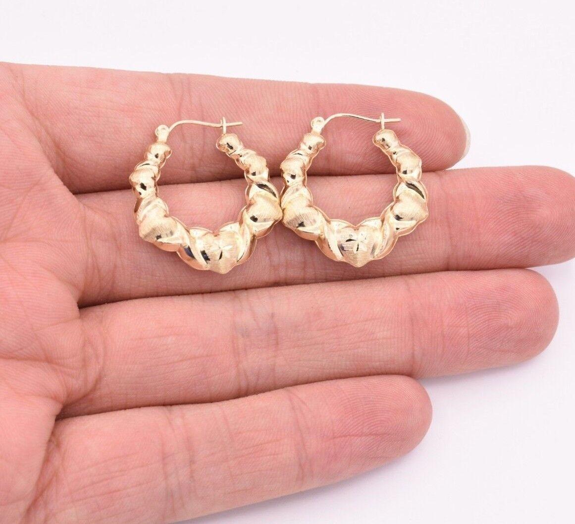 Cute Small Graduated  Diamond Cut Textured Hoop Earrings REAL 10K Yellow Gold