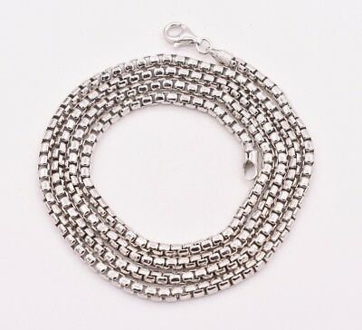 3 Round Box (3mm Round Box Chain Necklace Real Sterling Silver Platinum Clad Anti Tarnish)