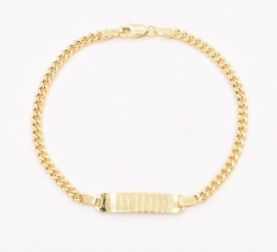 """6"""" Baby Children's KIDS Engravable ID Curb Bracelet REAL 10K Yellow Gold Italy"""