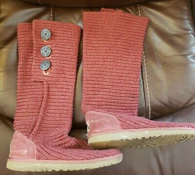 UGG Australia CLASSIC CARDY 5819 Maroon Knit Tall Sweater Boots Size 8