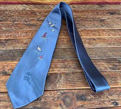 1950s Men's Ties, Bow Ties – Vintage, Skinny, Knit VTG 1950's Countess Mara Blue Sharkskin Atomic Mod Dandy Tie Capper Chicago $19.95 AT vintagedancer.com