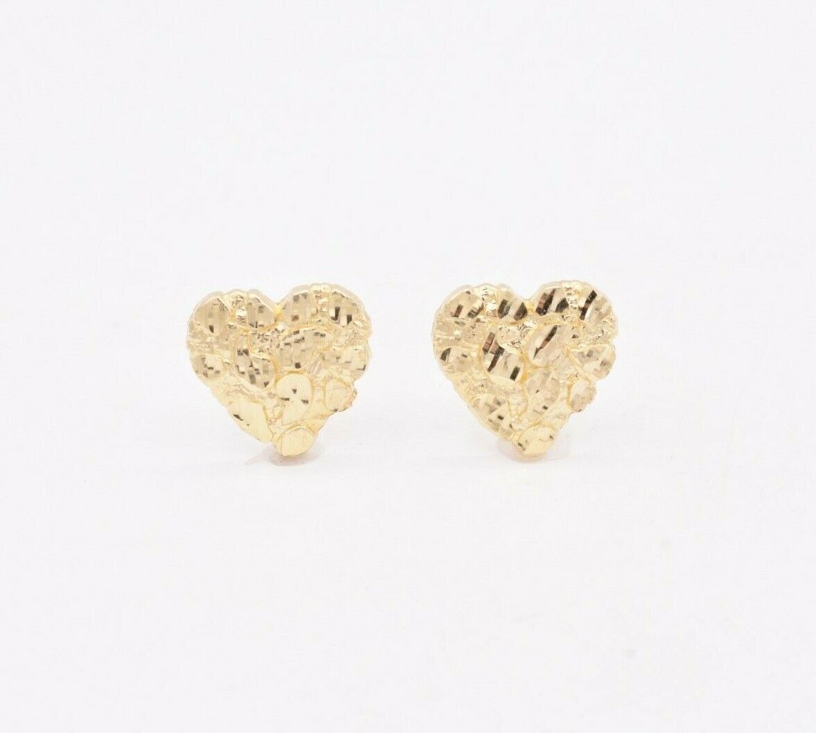 Real Solid 10K Yellow Gold Large Nugget Diamond Cut Stud Earrings